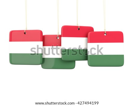 Square labels with flag of hungary. 3D illustration - stock photo