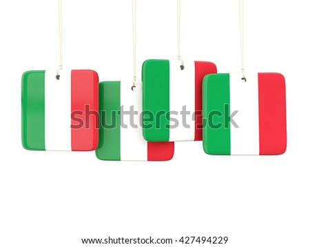 Square labels with flag of italy. 3D illustration - stock photo
