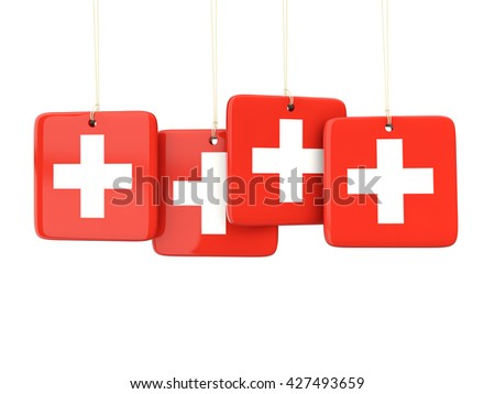 Square labels with flag of switzerland. 3D illustration - stock photo