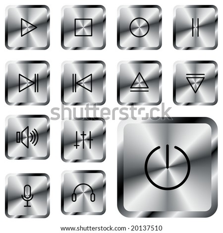 Square metal media-player button. - stock photo
