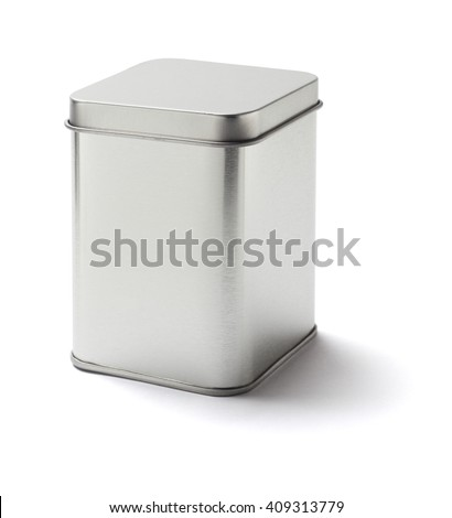 Square Metal Tin Can on White Background - stock photo