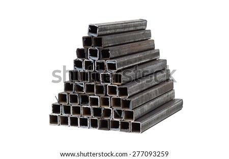 square metal tube isolated - stock photo