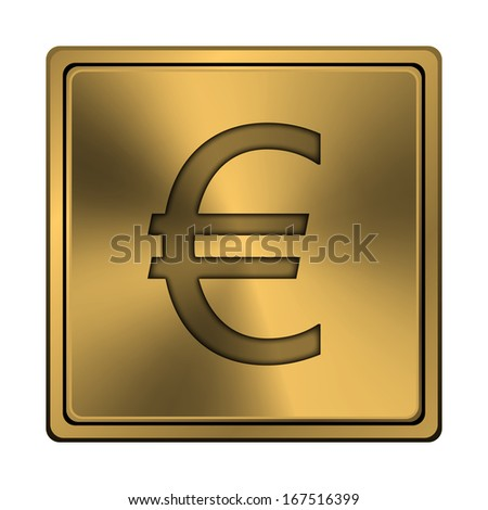 Square metallic icon with carved design on copper background