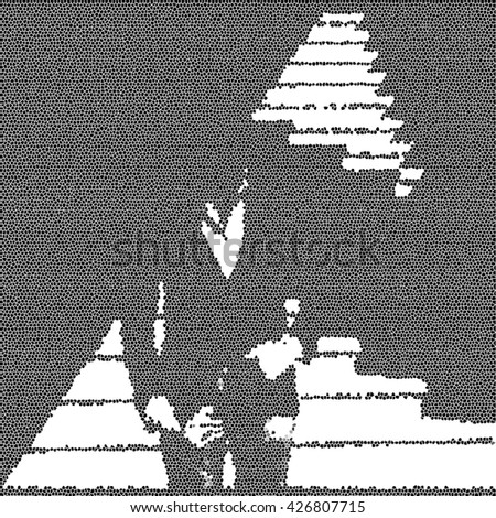 Square mosaic photo of man. Businessman in casual suit.  Unrecognizable person. Banking, credit, successful lead person. Business deals, contracts. Promotion, logo, black and white picture. - stock photo