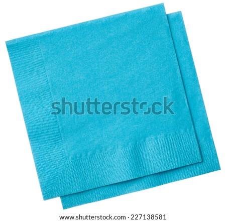 Square napkins isolated on white background, close up - stock photo