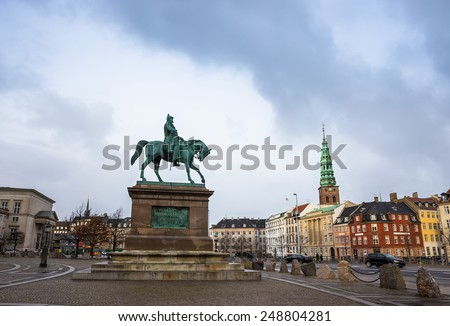 Square near Christianborg palace in Copenhagen, Denmark  - stock photo