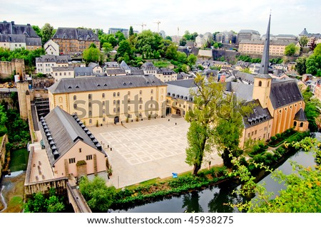 Square near St. John's Church in Luxembourg on sunny day - stock photo