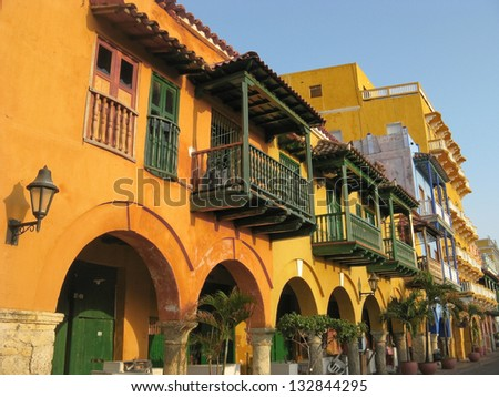 Square of carriages, downtown of Cartagena de Indias (Colombia) - stock photo