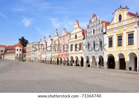 Square of city Telc, Unesco - stock photo