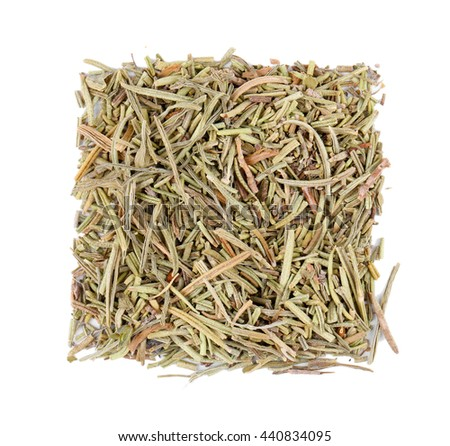 Square of dried rosemary on white background