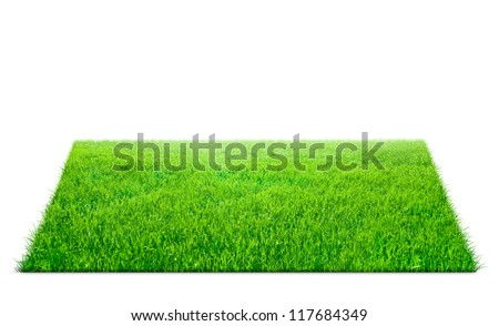 Square of green grass field over white background - stock photo