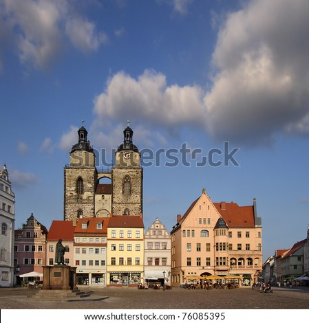 Square of Luther City Wittenberg in Germany, UNESCO World Heritage Site - stock photo
