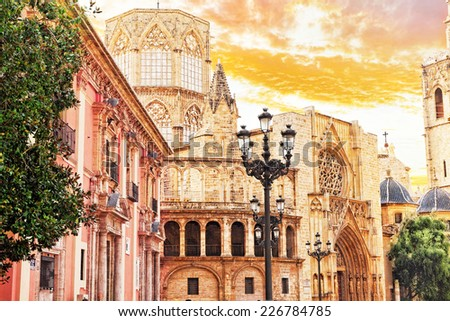 Square of Saint Mary's and Valencia  cathedral temple in old town.Spain - stock photo