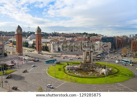 Square of Spain with fountain and venetian towers, Barcelona, Spain - stock photo