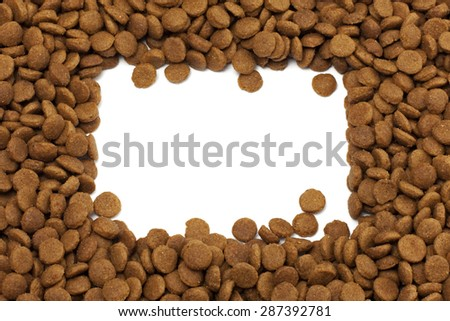 Square or rectangular frame of pet (dog or cat) food for backgro - stock photo