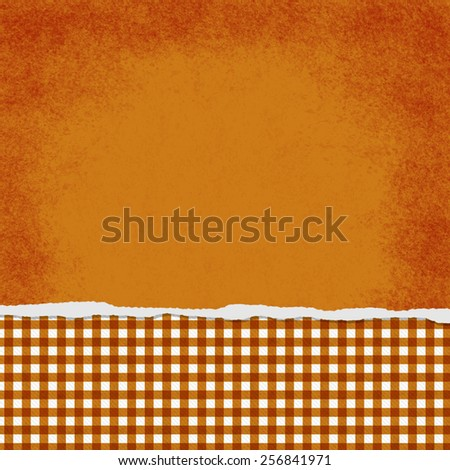 Square Orange and White Gingham Torn Grunge Textured Background - stock photo