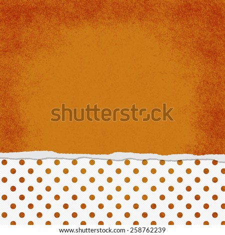 Square Orange and White Polka Dot Torn Grunge Textured Background with copy space at top - stock photo