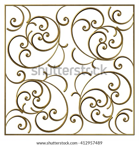 Square ornamental gold frame. 3d floral pattern with curl and swirl. Vintage decorative elements - stock photo