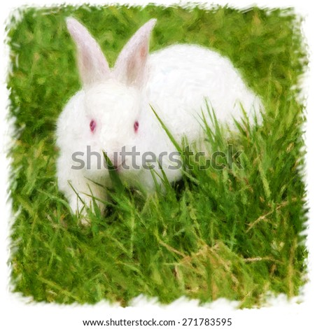 square painting of a little white rabbit in green grass