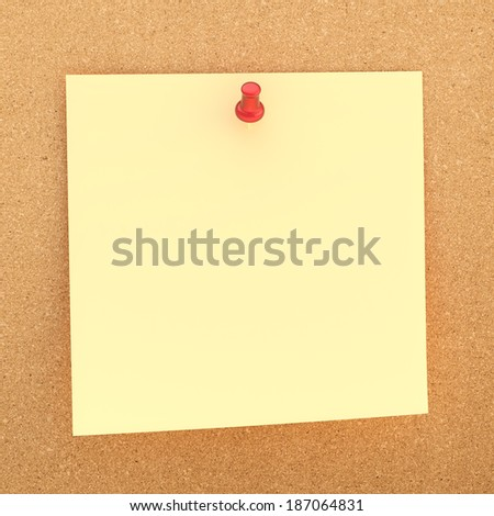 Square paper note sticked with the red office pin to the cork board background - stock photo