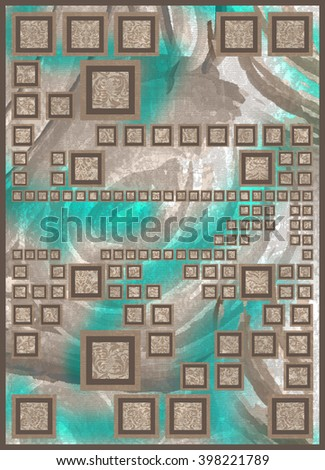square pattern rug  carpet  - stock photo