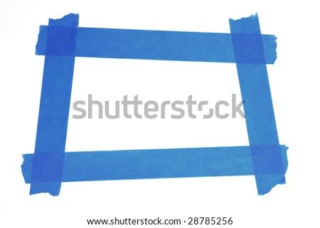 square photo frame made from blue painters tape - stock photo
