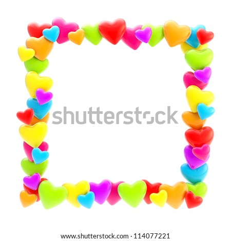 Square photo frame made of colorful cute glossy hearts isolated on white background