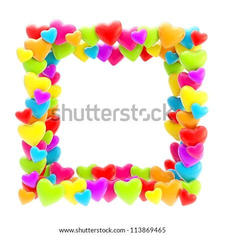 Square photo frame made of colorful plastic cute glossy hearts isolated on white background