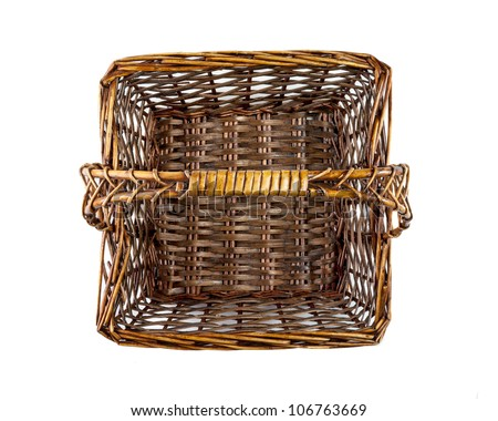 square picnic basket, top view - stock photo
