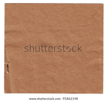Square piece of old paper isolated on white background - stock photo