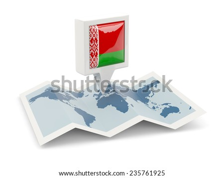 Square pin with flag of belarus on the map - stock photo