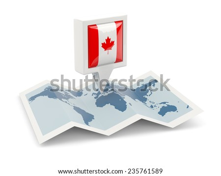Square pin with flag of canada on the map - stock photo
