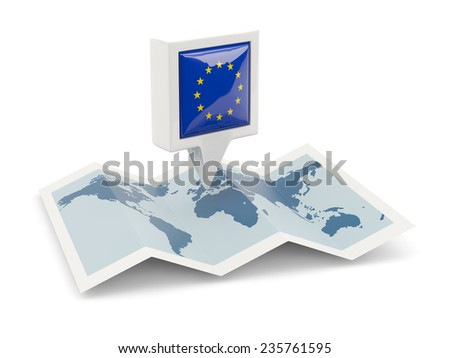 Square pin with flag of european union on the map