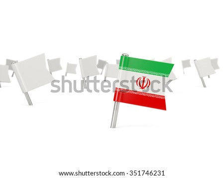 Square pin with flag of iran isolated on white - stock photo