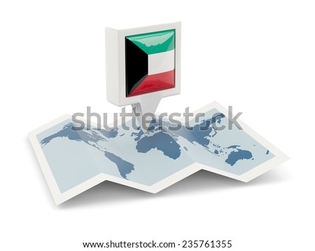 Square pin with flag of kuwait on the map - stock photo