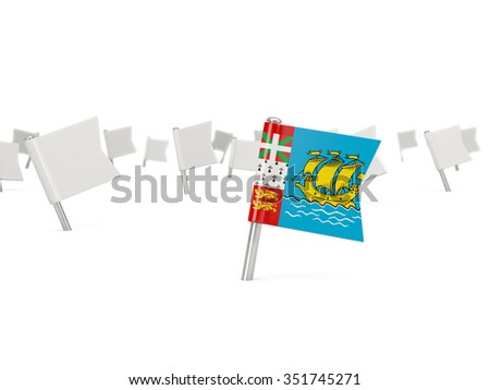 Square pin with flag of saint pierre and miquelon isolated on white