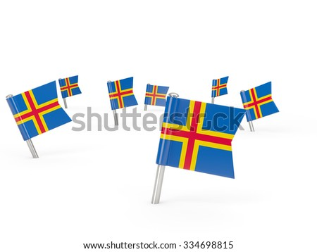 Square pins with flag of aland islands isolated on white - stock photo