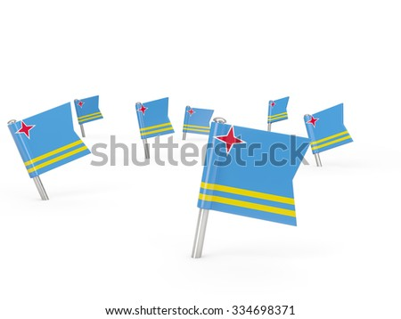 Square pins with flag of aruba isolated on white - stock photo