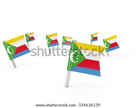 Square pins with flag of comoros isolated on white