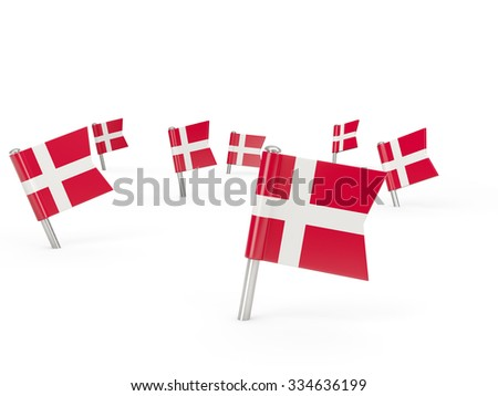 Square pins with flag of denmark isolated on white - stock photo