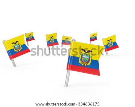 Square pins with flag of ecuador isolated on white