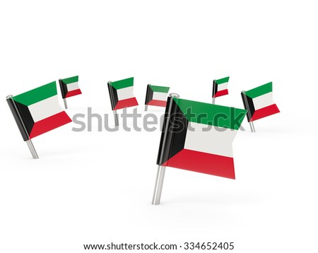 Square pins with flag of kuwait isolated on white - stock photo