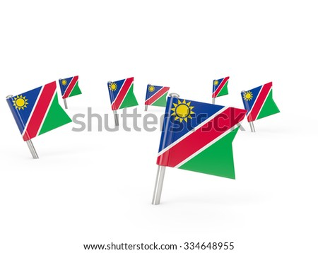 Square pins with flag of namibia isolated on white