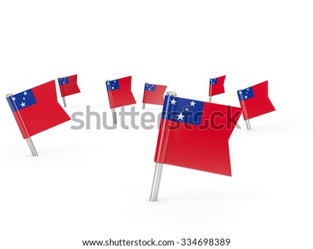 Square pins with flag of samoa isolated on white