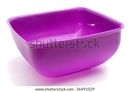 Square purple bowl, isolated on white - stock photo