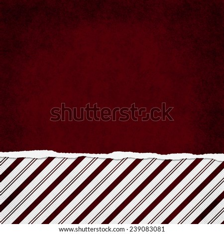 Square Red and White Candy Cane Stripe Torn Grunge Textured Background with copy space at top - stock photo