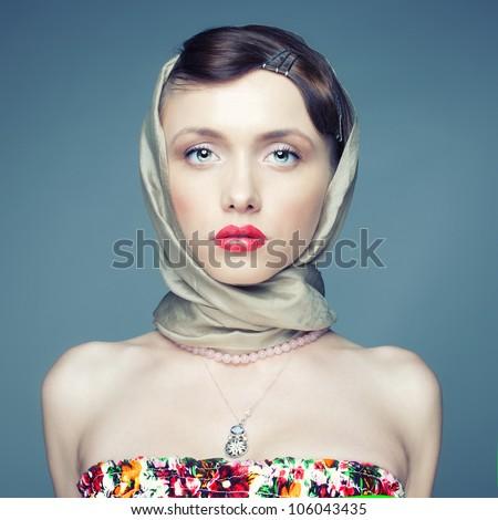 Square retro portrait of a charming girl - stock photo