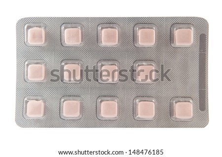 Square shape tablet in transparent blister pack - stock photo