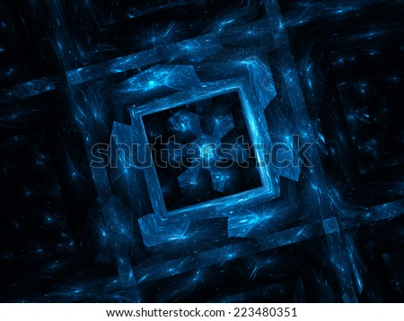 Square shaped cell with hexagonal cpu, nanotechnology - stock photo