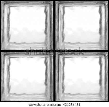 Square shaped of glass bricks - Seamless pattern Background - Black and White - stock photo